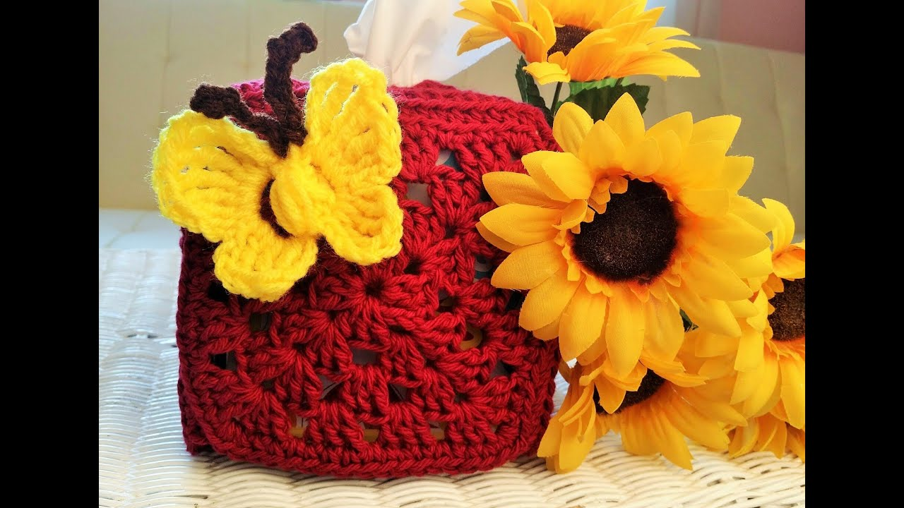 Crochet Glama\'s Granny Square Tissue Box Holder - YouTube