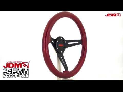 JDM SPORT 345MM RED WOOD GRAIN STEERING WHEEL
