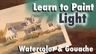 Learn to Paint Light Watercolor Demo and Lesson on painting white houses