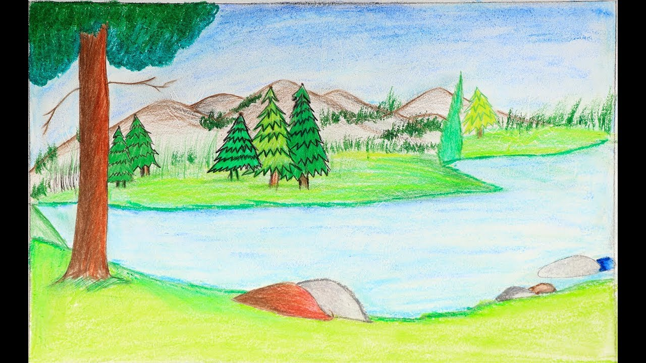 How to draw a landscape step by step - Very easy landscape ...