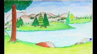 landscape easy drawing draw step tutorial very