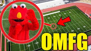 DRONE CATCHES ELMO.EXE AT HAUNTED HIGH SCHOOL!! (HE CAME AFTER US!!)