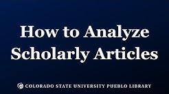 How to Analyze Scholarly Articles