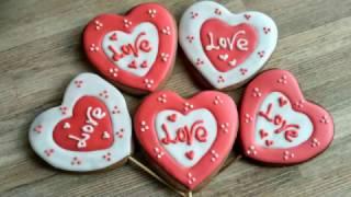 Имбирное печенье ко Дню Святого Валентина. How To Decorate Valentines Day Cookies