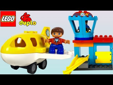 LEGO DUPLO AIRPORT PLAYSET WITH AIRPLANE 🛩TOWER AND PASSENGERS WHO FLY THROUGH THE SKY - UNBOXING