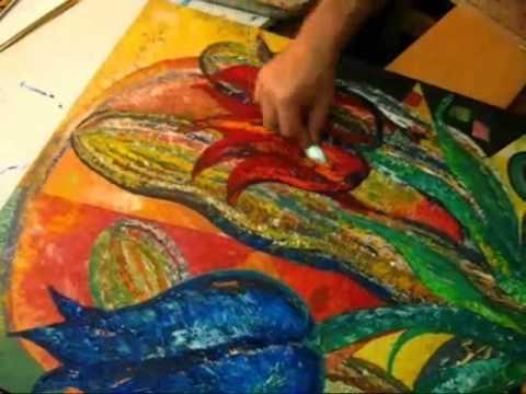 How I paint Flowers bright Tulips Desert Cactus Acrylic Canvas Art Slideshow by Rami Benatar.wmv