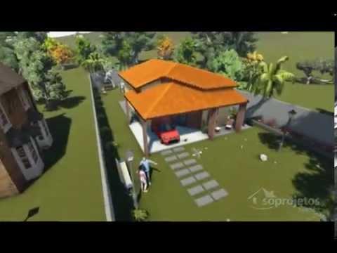 Projetos de casas t rrea com varanda gourmet e pergol for Casa moderna de 7 00m x 15 00m