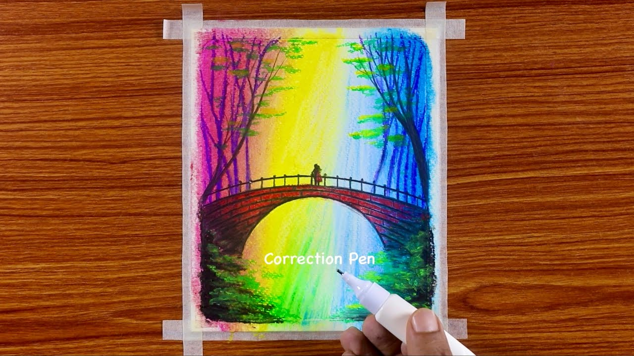 Beautiful Autumn Waterfall Bridge Scenery / Drawing with Oil Pastels / Step by Step