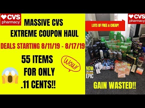 MASSIVE CVS EXTREME COUPON HAUL DEALS STARTING 8/11/19~55 ITEMS FOR ONLY .11 CENTS~TONS OF FREE❤️