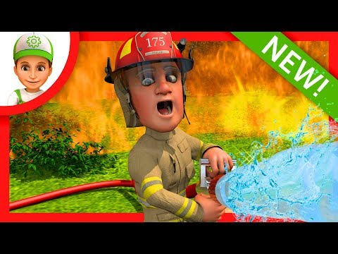 Cartoon about the fire in the woods. Fire truck - 3D Animations for children