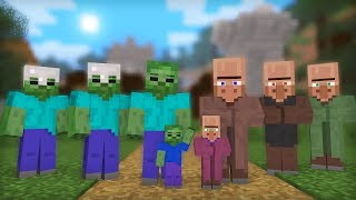 Zombie And Villager Life Full Animation     Minecraft Animation