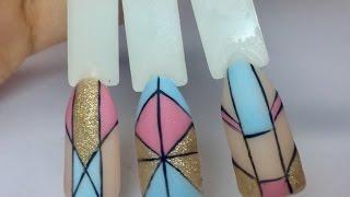 Геометрия на ногтях. Геометрический дизайн ногтей. Маникюр. Покрытие гель лак🌺
