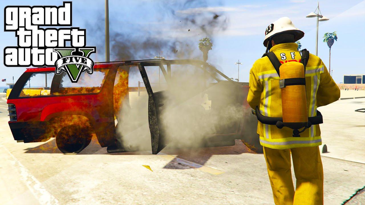GTA 5 Mods - FIREFIGHTER MOD! GTA 5 Mod Showcase Fire