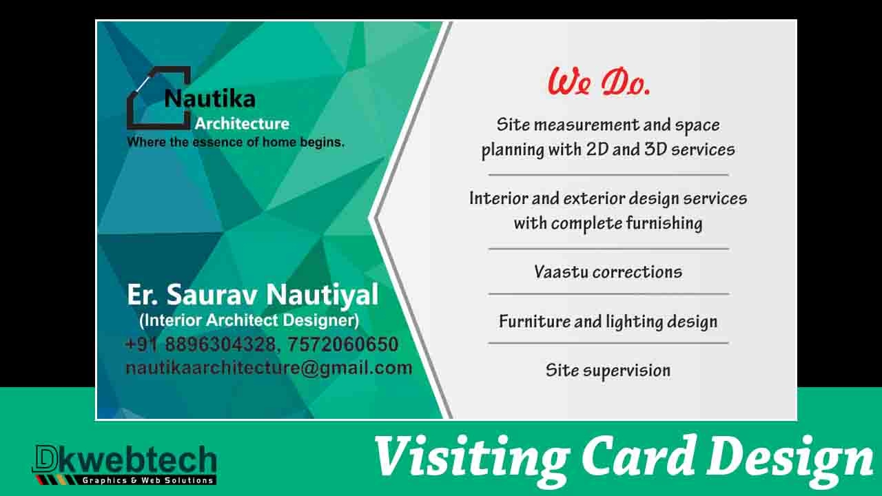 Professional business card designing ideas i coreldraw x8 in hindi
