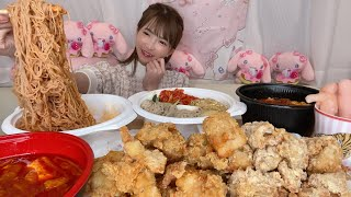 【大食い】韓国料理フライドチキン冷麺ピビン麺豚キムチ純豆腐牛テール純豆腐激辛【もえあず】