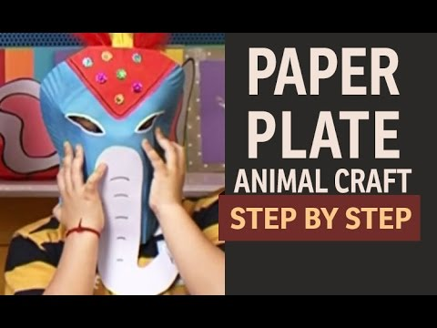How to make Elephant Paper Plate Party Masks -  Paper Art and Craft Ideas  (English)  sc 1 st  YouTube : paper plate elephant craft - pezcame.com