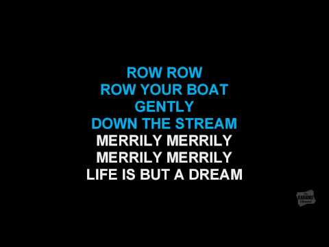 Row row row your boat round version in the style of traditional karaoke video