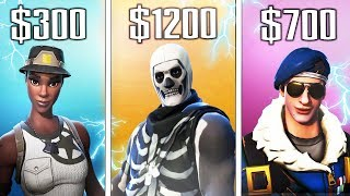"the 5 MOST ""EXPENSIVE SKINS"" in FORTNITE! - ""RARE SKINS"" in Fortnite Battle Royale"