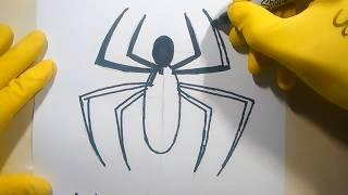 How To Draw Spiderman Logo Homecoming Easy Tutorial Sketch Sign Emblem Doodle step by