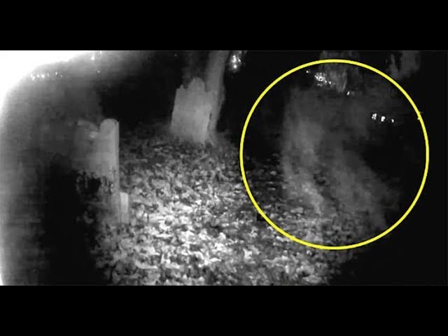 Graban el espeluznante momento en que se materializa una forma fantasmal en un cementerio