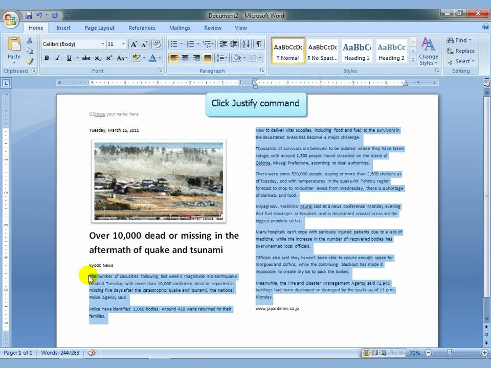 Ms word 2007 newspaper columns.mp4 - YouTube