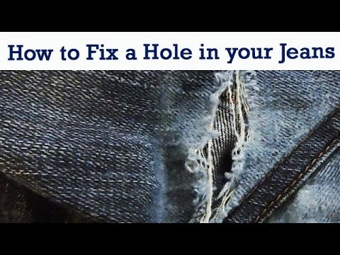 HOW TO FIX A HOLE IN YOUR JEANS YouTube Delectable How To Patch Jeans Without A Sewing Machine