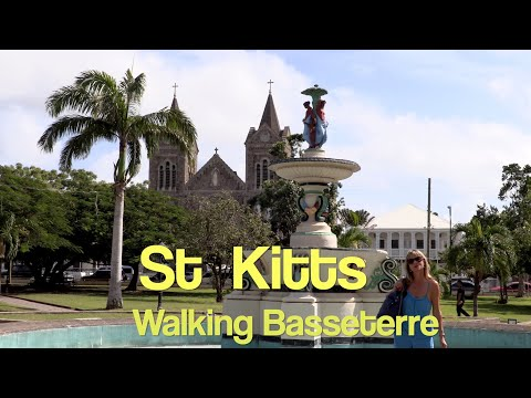 St Kitts, walking round Basseterre. Jean nearly causes havoc ringing the town bell.