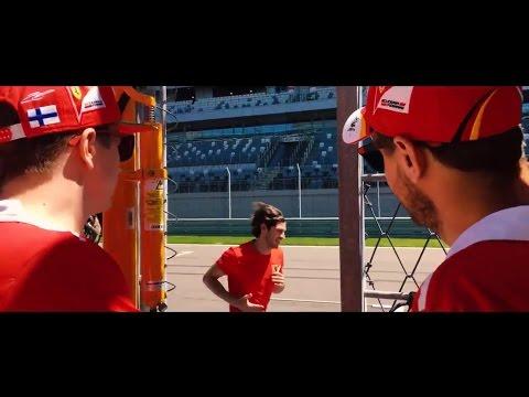 F1 2017 Russian GP - Sebastian Vettel and Kimi Raikkonen quiz Antonio Giovinazzi