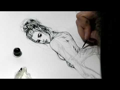 Pencil & Ink Speedpaint Video