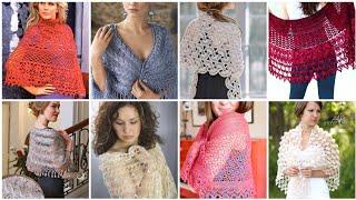 Classy Crochet Lace Pattern Fancy Cotton Yarn Caplet Shawl Designs//Bridal Wrap Shawl Patterns