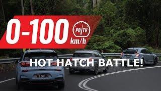 2018 Honda Civic Type R vs Hyundai i30 N vs Peugeot 308 GTi: 0-100km/h & engine sound