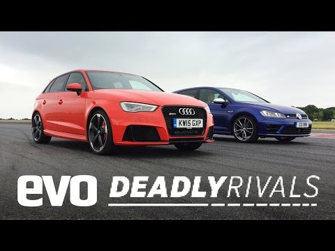 Audi RS3 and Volkswagen Golf R face off in Evo test