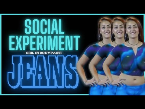 Girl in Bodypaint Jeans Social Experiment