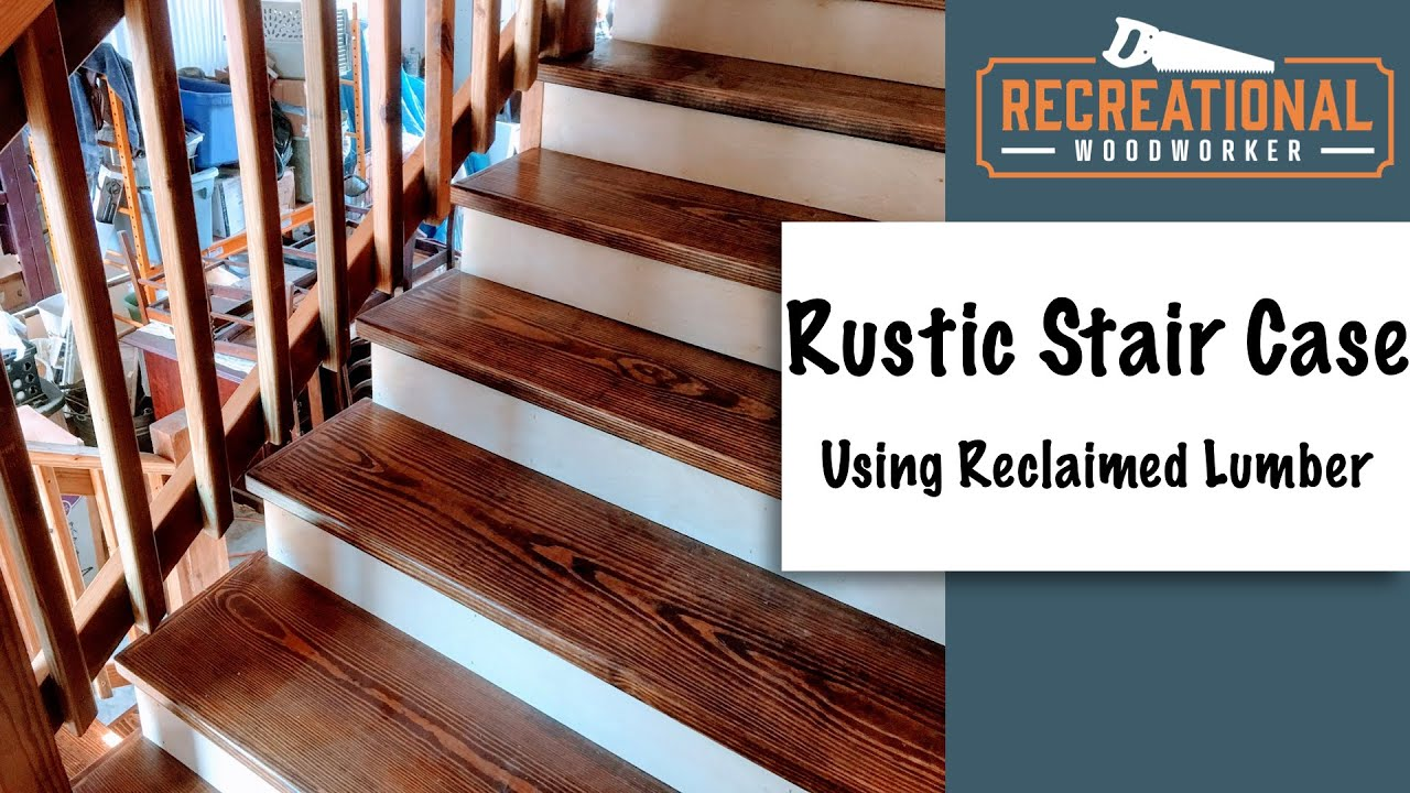 Reclaimed Staircase Youtube   Distressed Wood Stair Treads   Unfinished   Barn Wood   Diy   Commercial   Adhesive Padding 31 Wide Tread Single 10 Deep
