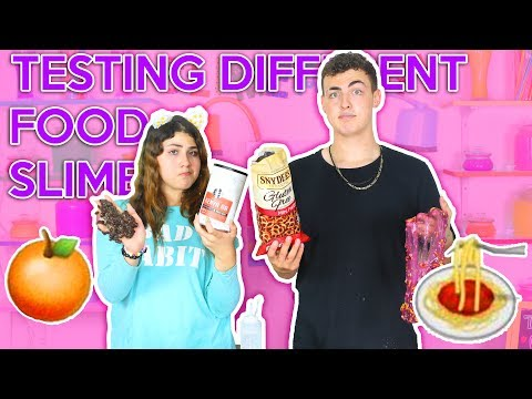 TESTING DIFFERENT FOODS FOR SLIME   crunchy food slimes   Slimeatory #83