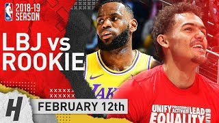 Rookie Trae Young BATTLES LeBron James 2019.02.12 Lakers vs Hawks | CRAZY Duel Highlights