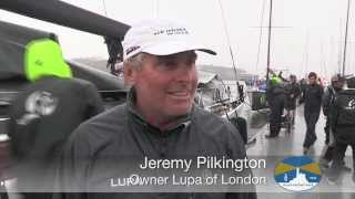 LUPA of London arrival at the finish line in Plymouth for the Rolex Fastnet Race 2013