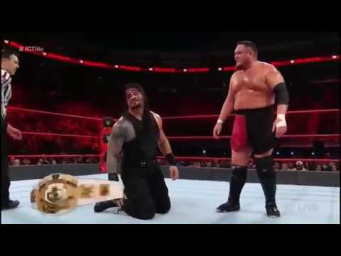 Roman Reigns vs Samoa Joe - WWE - Intercontinental Title Match Highlights - Raw, Jan 1, 2018 thumbnail