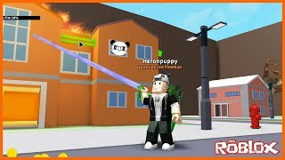 Panda and I became firemen for a day! Roblox Fire Fighting Simulator