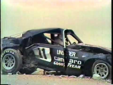 Bobby Unser accident in Riverside IROC race 1975