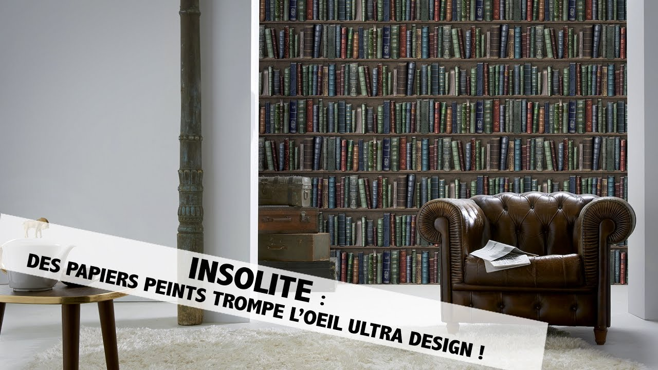 insolite d couvrez le papier peint trompe l 39 oeil youtube. Black Bedroom Furniture Sets. Home Design Ideas
