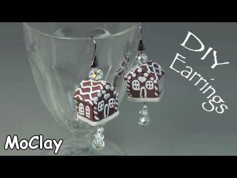 DIY Gingerbread house miniature earrings