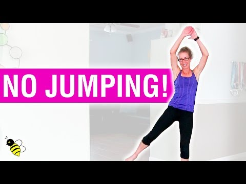 LOW IMPACT CARDIO   10 Minute, 100 Calorie Barefoot Fat Burning Workout without Jumping