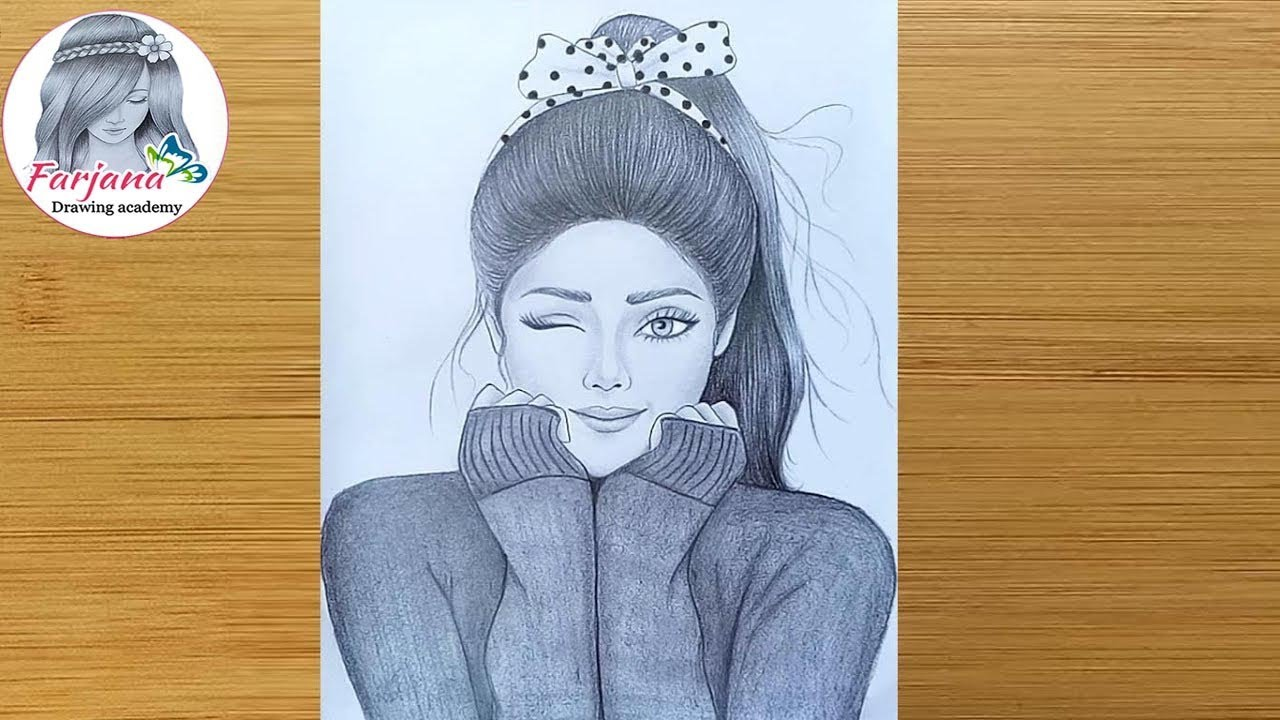 A Cute Girl , Drawing Tutorial / How to draw a girl , Step by step / Pencil  Sketch