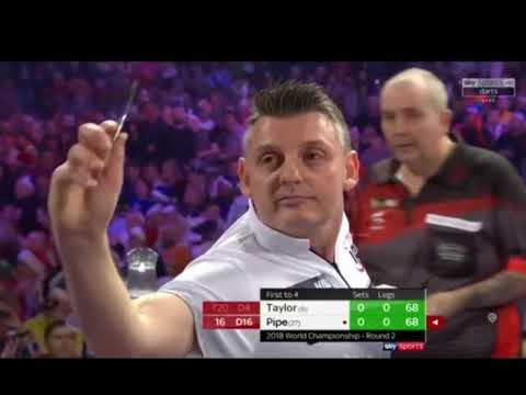Phil Taylor vs Justin Pipe walk on and first set