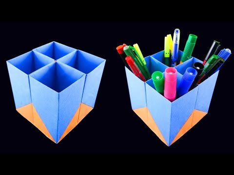 How to Make a Easy Paper Pen Holder - DIY simple paper craft