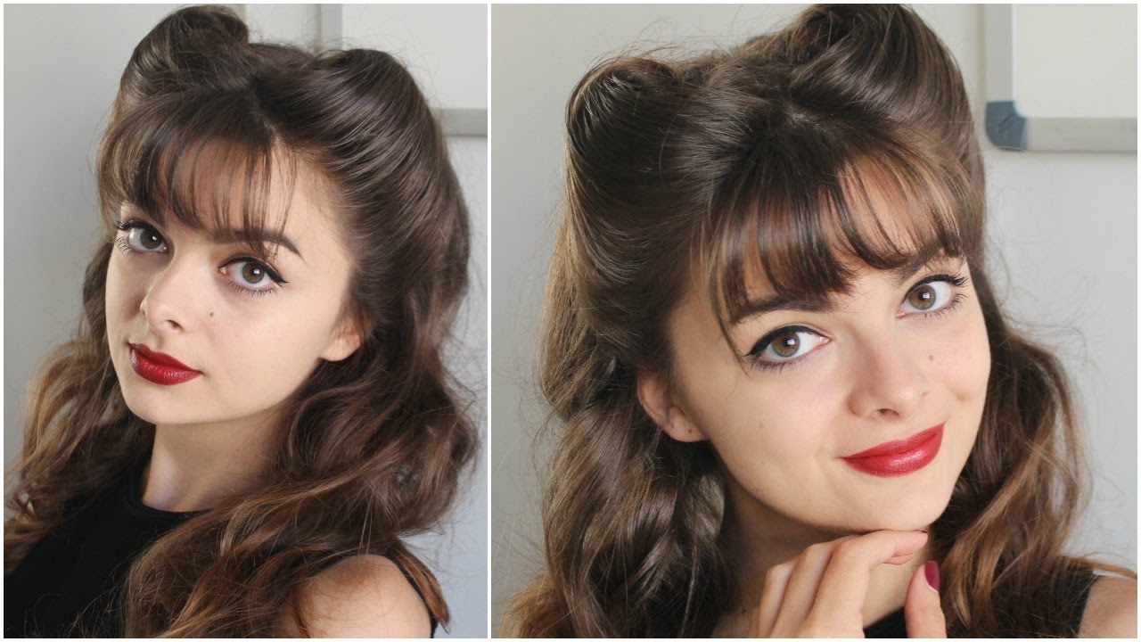 pin up hairstyle | bangs & victory rolls | tutorial