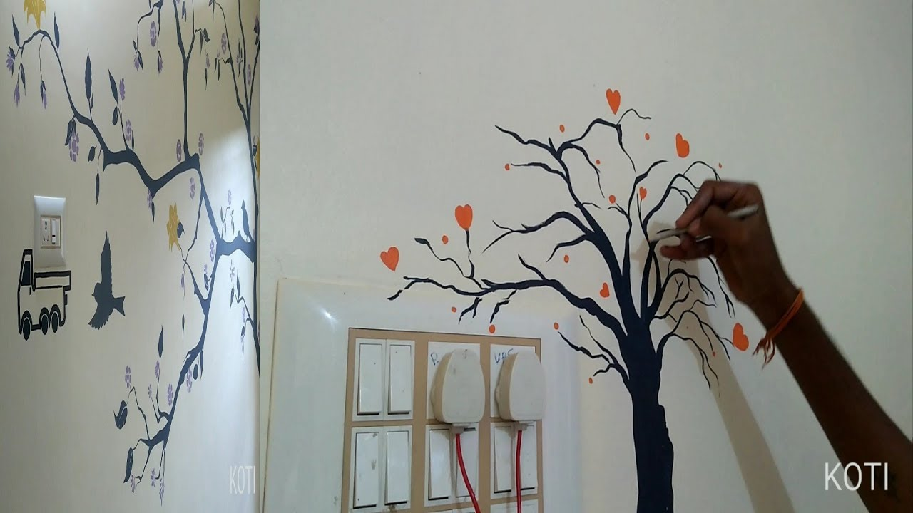 Wall Painting Tree Designs And Switch Board Decoration Asian Paints