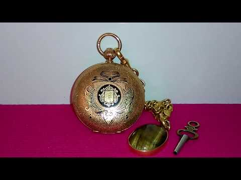 Gold And Enamel Pocket Watch Decorated With Black Champleve Enamel & Fob ( SOLD OUT )