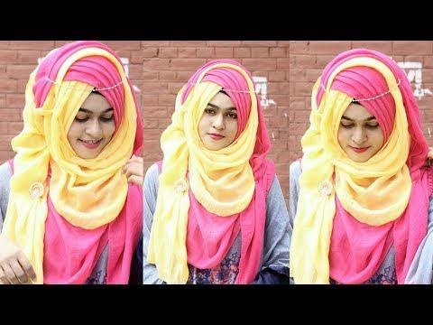 Criss Cross Layer hijab style For Pohela Falgun - পহেলা ফাল্গুন/ বসন্ত বরণ হিজাব টিউটোরিয়াল (MUNA)
